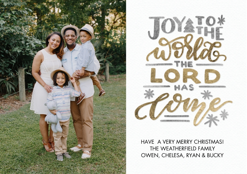 Christmas Photo Cards 5x7 Cards, Premium Cardstock 120lb with Rounded Corners, Card & Stationery -Christmas Joy Hand Lettered by Tumbalina
