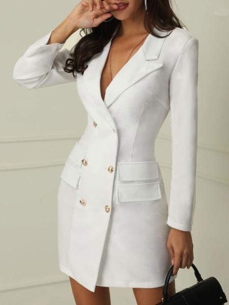 Milanoo Blazer Dress Women OL Office Double Breasted Long Sleeve Tuxedo Blazer