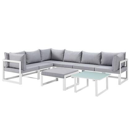 Fortuna Collection EEI-1735-WHI-GRY-SET 8 PC Outdoor Patio Sectional Sofa Set with Washable Polyester Cushion  Powder Coated Aluminum Frame  Water