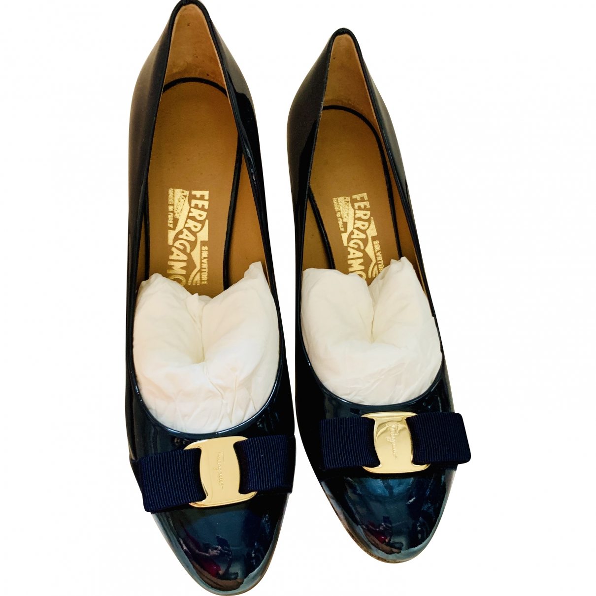 Salvatore Ferragamo \N Blue Patent leather Heels for Women 41 EU