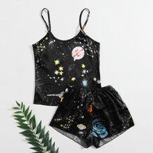 Galaxy Print Satin Cami PJ Set