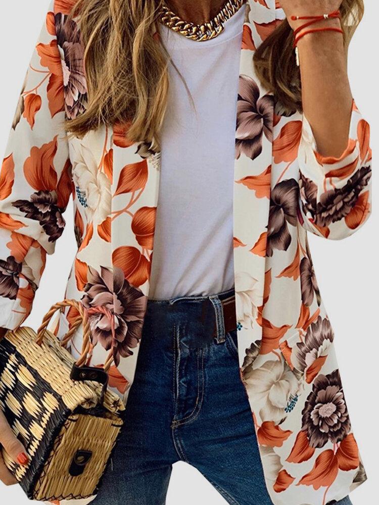 Floral Printed Vintage Long Sleeve Blazer Women Suit Jacket