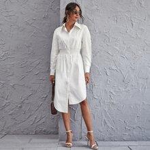 Hemdkleid mit geraffter Taille und asymmetrischem Saum