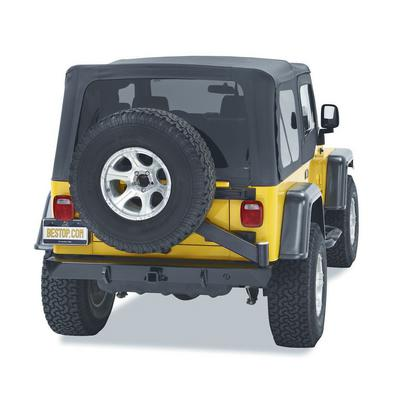 Bestop HighRock 4x4 Rear 2 Inch Receiver Hitch Bumper with Swing Out Tire Carrier (Black) - 44931-01