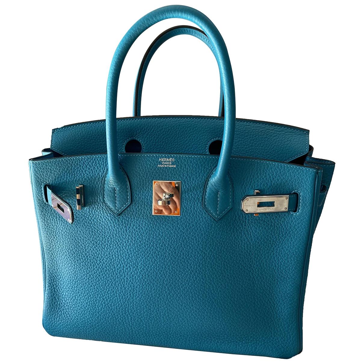Hermes Birkin 30 Handtasche in  Tuerkis Leder