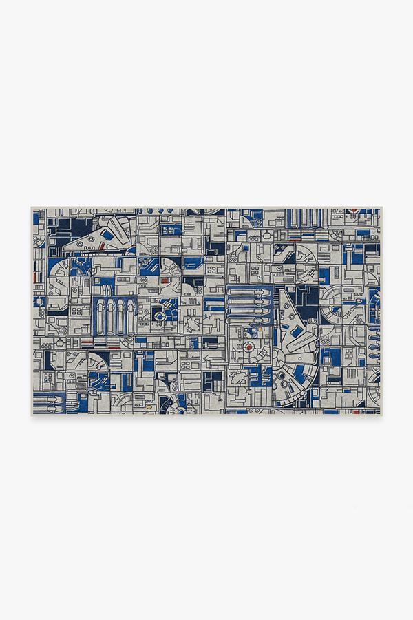 Washable Rug Cover & Pad | Smugglers Geo R2D2 Blue Rug | Stain-Resistant | Ruggable | 3'x5'