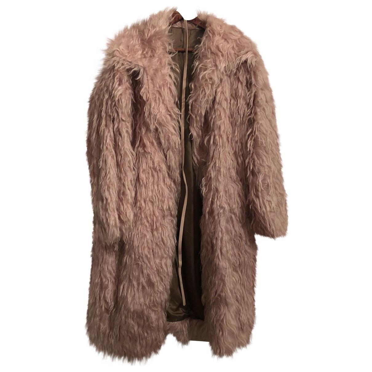 N°21 - Manteau   pour femme en fourrure synthetique - rose