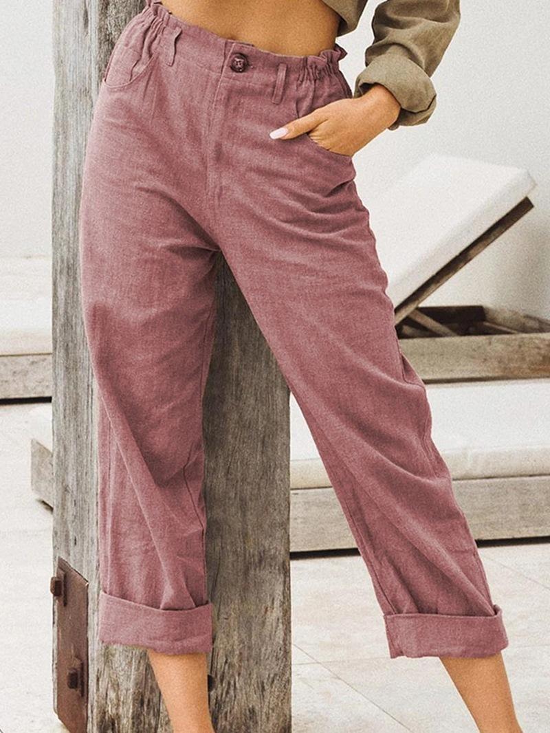 Ericdress Loose Plain Pocket Ankle Length Mid Waist Casual Pants