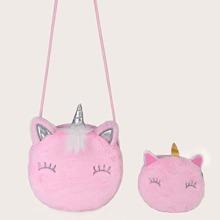 Bolsa bandolera con diseño de unicornio con monedero