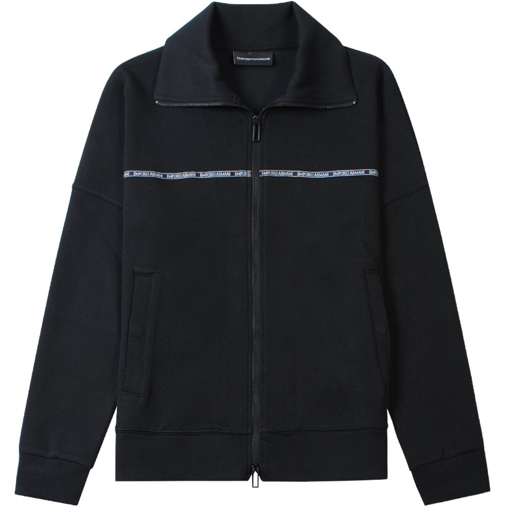 Emporio Armani Logo Stripe Jacket Colour: BLACK, Size: LARGE