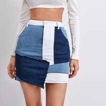 Falda denim bajo asimetrico de color combinado de cintura alta