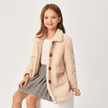 Girls Button Front Teddy Coat