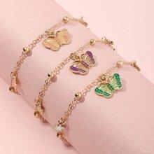 3 Stuecke Kleinkind Maedchen Armband mit Schmetterling Dekor