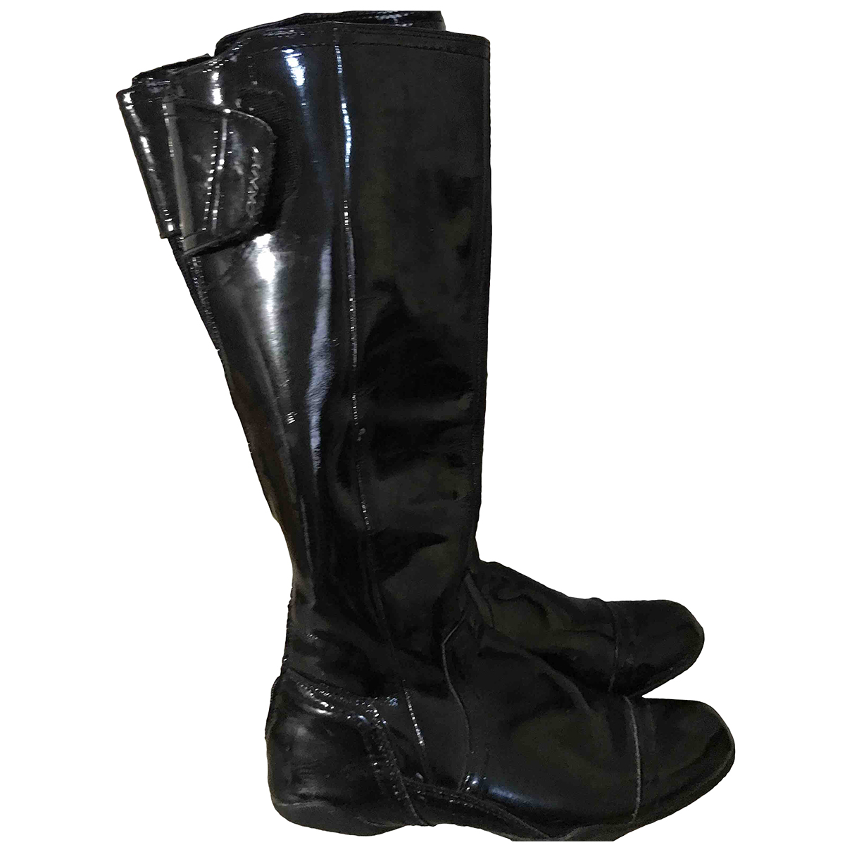 Dkny N Black Patent leather Boots for Women 6 UK