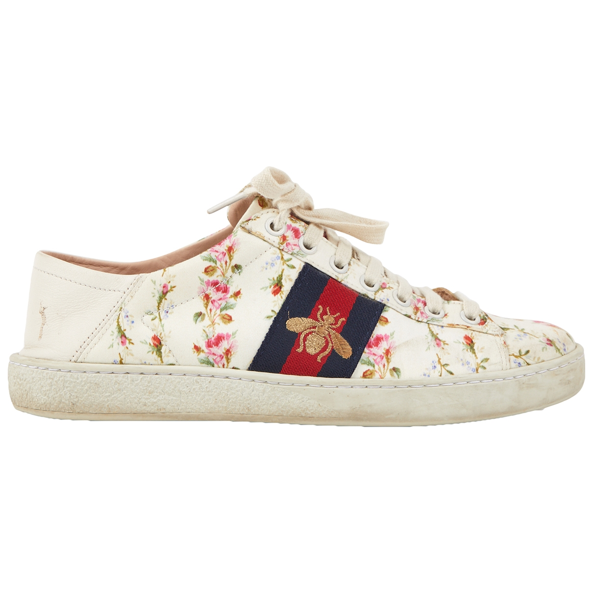 Gucci Ace Sneakers in  Weiss Leinen