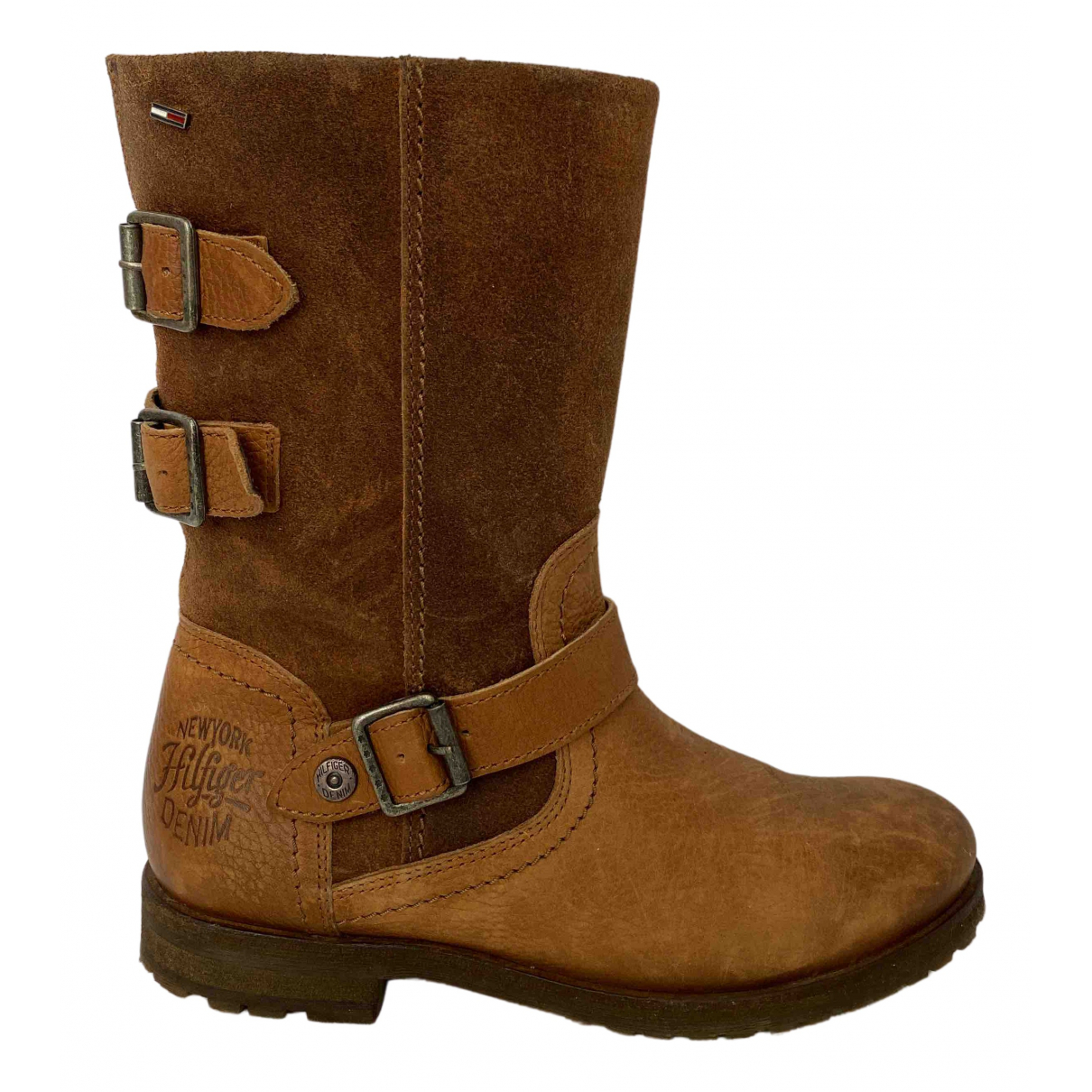 Tommy Hilfiger N Brown Leather Boots for Women 37 EU