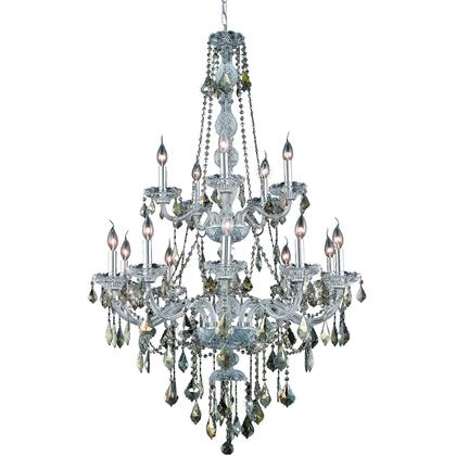 V7815G33C-GT/SS Verona 15 Light Chrome Chandelier Golden Teak (Smoky) Swarovski Elements