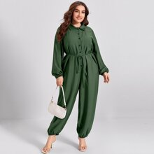 Plus Button Front Lantern Sleeve Belted Jumpsuit