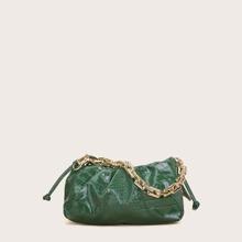 Bolso con fruncido con cadena con diseño de cocodrilo