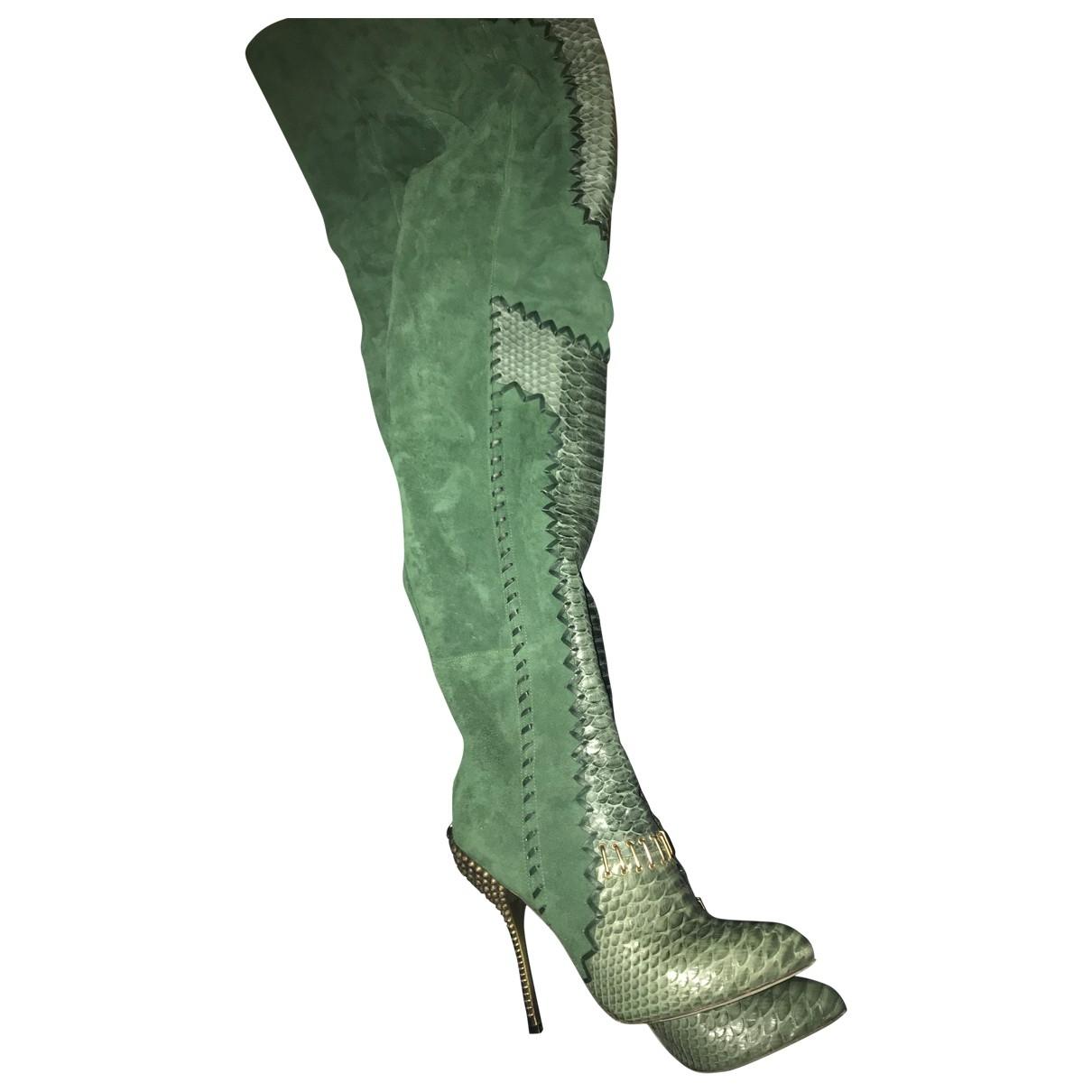 Sergio Rossi - Bottes   pour femme en python - vert