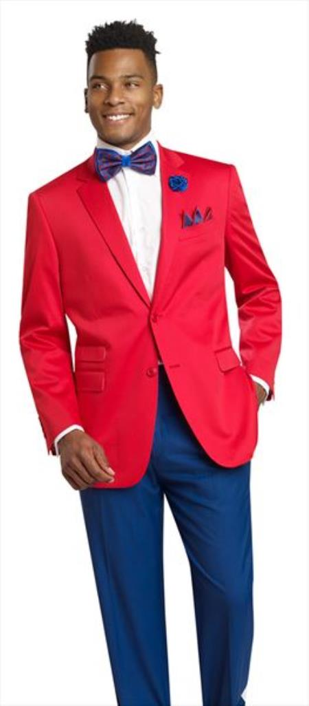 Mens Red 2 Button 2 Piece Blazer