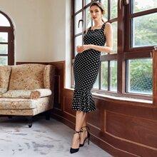 Kleid mit Punkten Muster und Meerjungfrauenschwanz Design