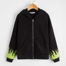 Sweatshirt mit Feuer Muster, sehr tief angesetzter Schulterpartie und Reissverschluss