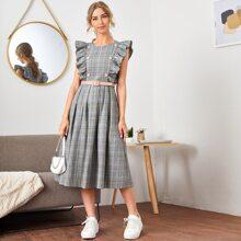 Kleid mit Ruesche, Armloch und Plaid Muster & PU Leder Guertel
