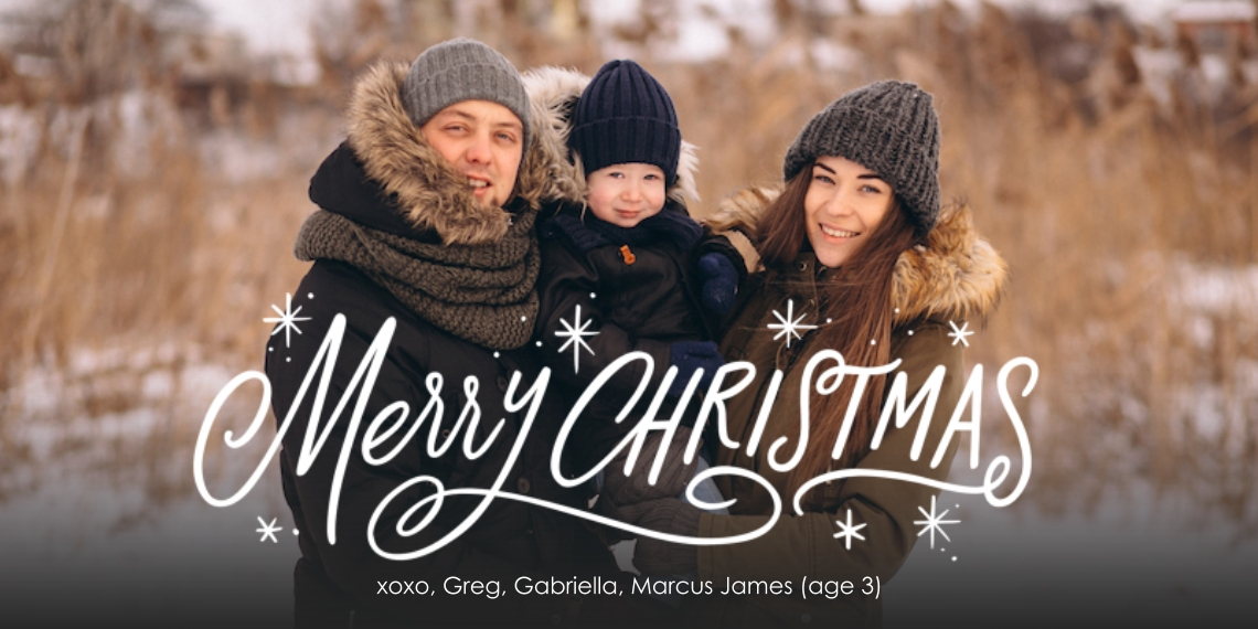 Christmas Photo Cards Flat Matte Photo Paper Cards with Envelopes, 4x8, Card & Stationery -Festive Merry