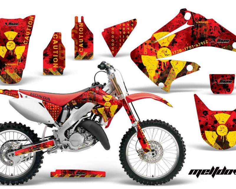 AMR Racing Dirt Bike Graphics Kit Decal Wrap For Honda CR125R | CR250R 2002-2008áMELTDOWN YELLOW RED