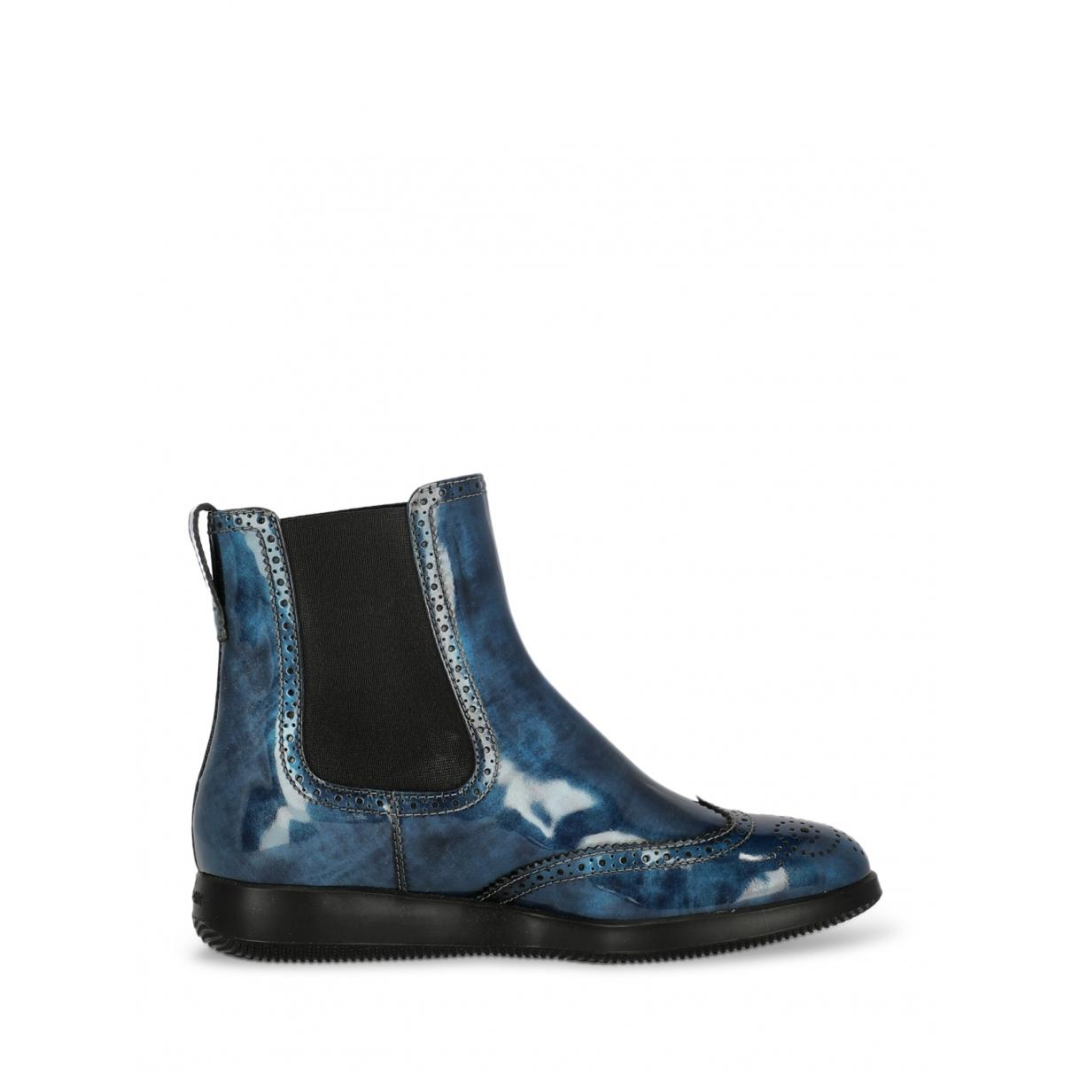 Hogan - Boots   pour femme en cuir verni - marine