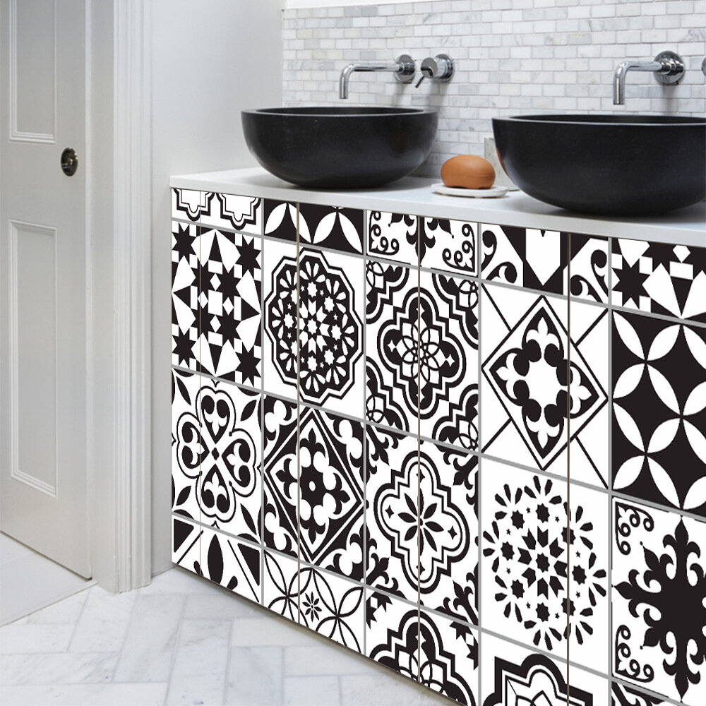 20x100cm Black and White Waterproof Tile Stickers Line Wall Sticker Kitchen Adhesive Bathroom Toilet Waterproof PVC Wall