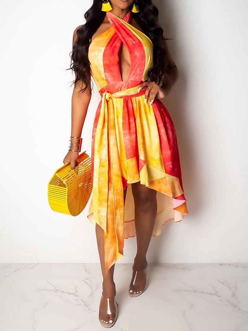 Ericdress Asymmetric Color Block Backless Sleeveless Mid Waist Dress
