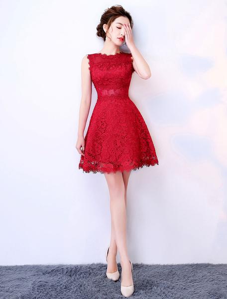 Milanoo Burgundy Graduation Dresses Lace Short Prom Dress Sleeveless Mini Cute Party Dress