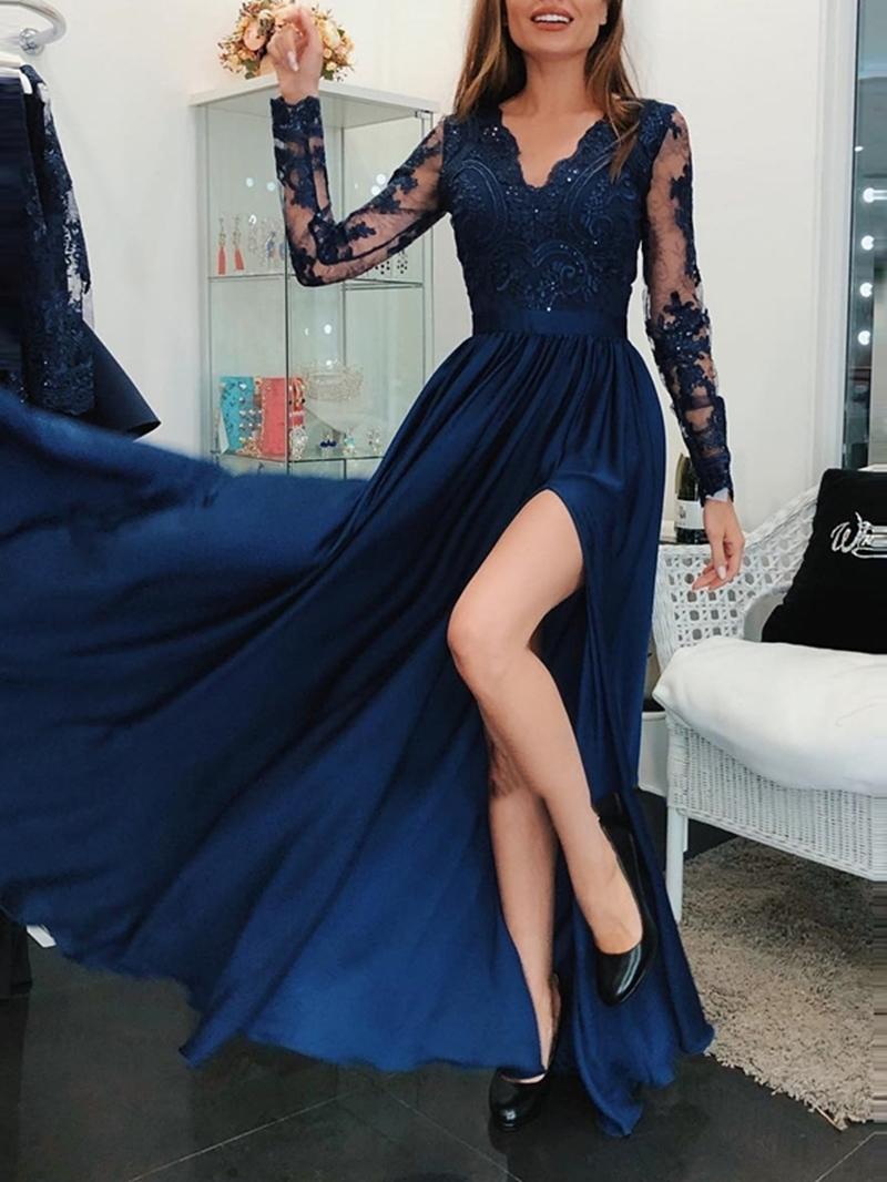 Ericdress Beading A-Line Long Sleeve Evening Dress