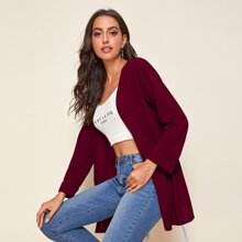 Open Front Cuffed Sleeve Solid Coat