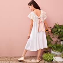 Kleid mit Schleife hinten, Spitzen und Punkten Muster