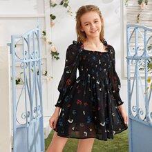 Girls Shirred Bodice Lantern Sleeve Floral A-line Dress