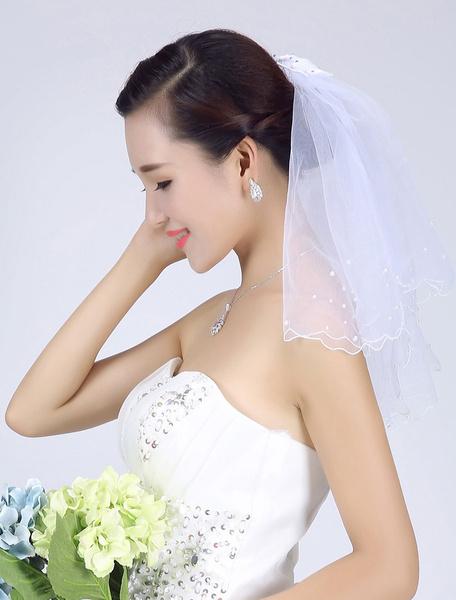Milanoo White Wedding Veil Tulle Two-Tier Beaded Edge Short Bridal Veil
