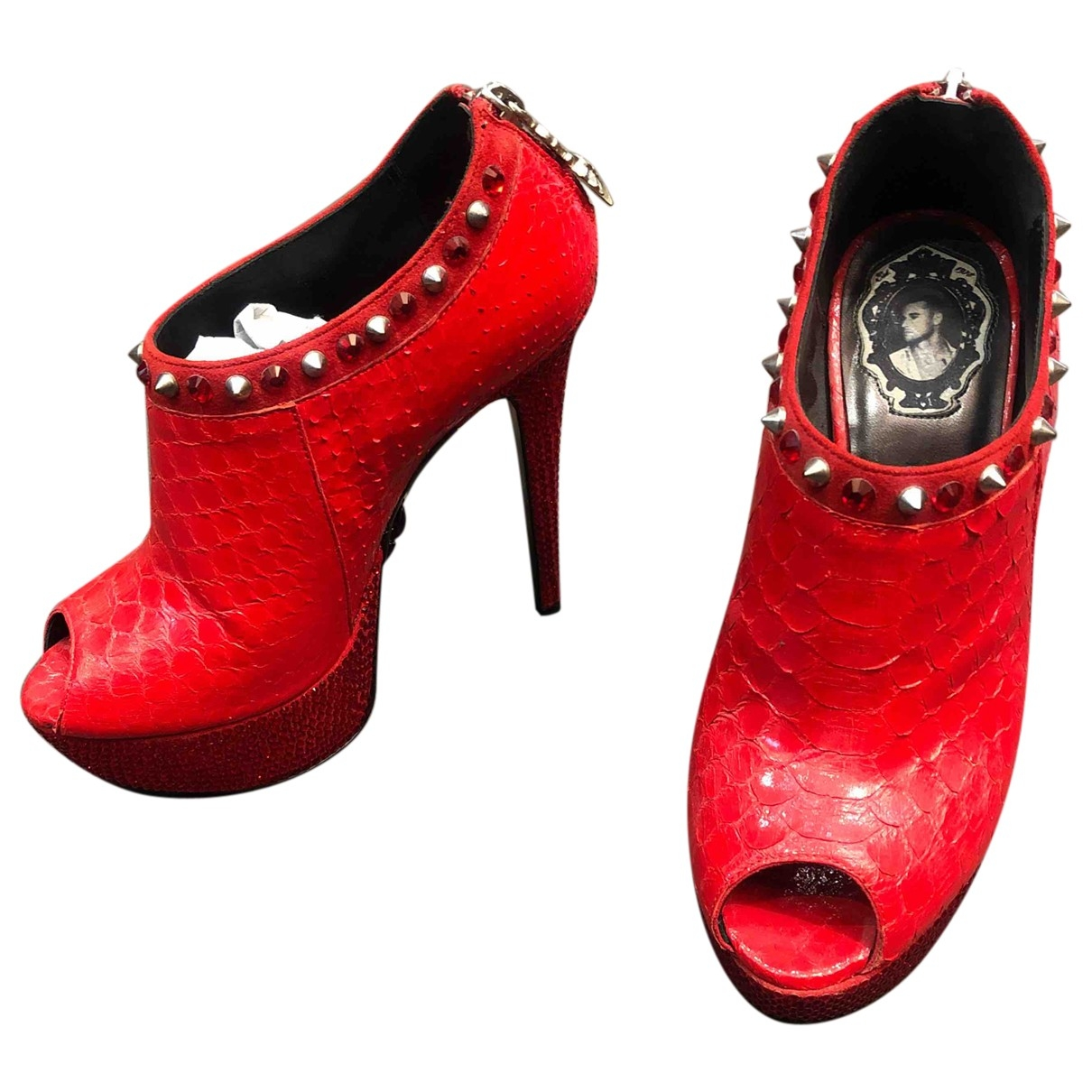 Philipp Plein \N Red Water snake Ankle boots for Women 35 EU