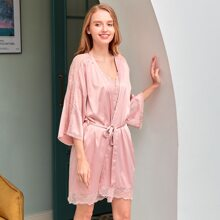 PJM Lace Trim Self Tie Satin Night Robe Without PJ Set