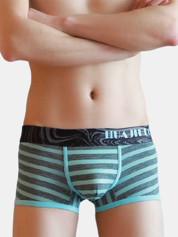 Ice Silk Striped Comfy Breathable Boxer Briefs For Men