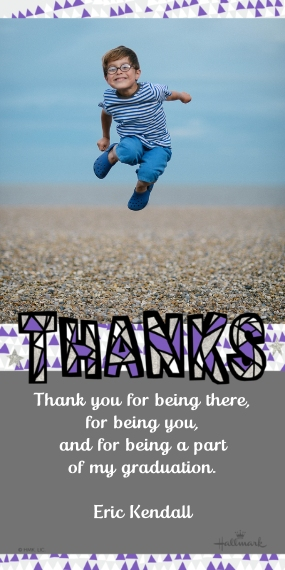 Graduation Thank You Cards 4x8 Flat Card Set, 85lb, Card & Stationery -Silver Bling Thank You