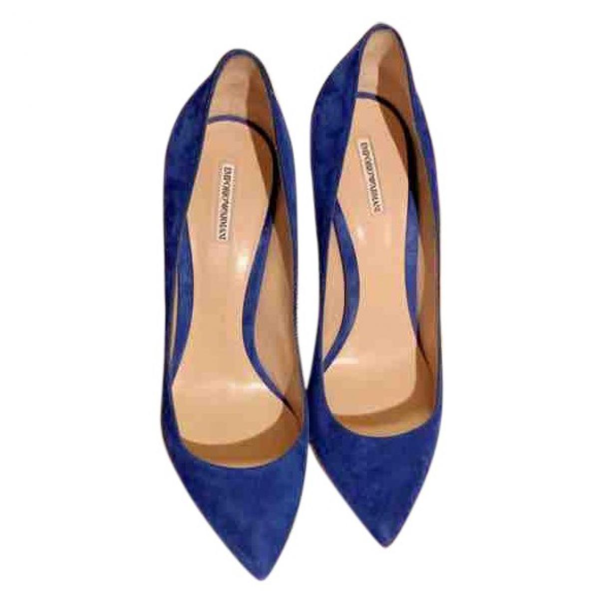 Emporio Armani \N Blue Suede Heels for Women 39 EU