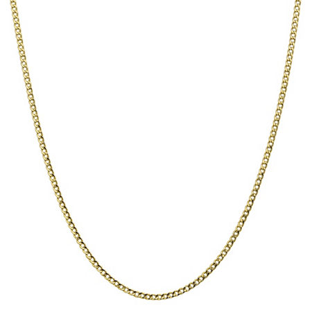 10K Gold 16 Inch Semisolid Curb Chain Necklace, One Size , No Color Family