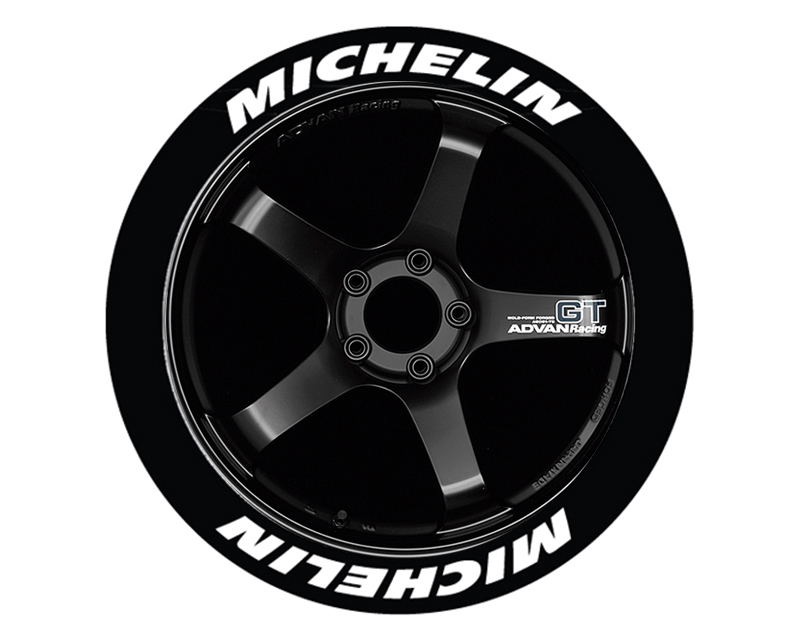 Tire Stickers MIC-1921-75-4-W Permanent Raised Rubber Lettering 'Michelin' - 4 Of Each - 19