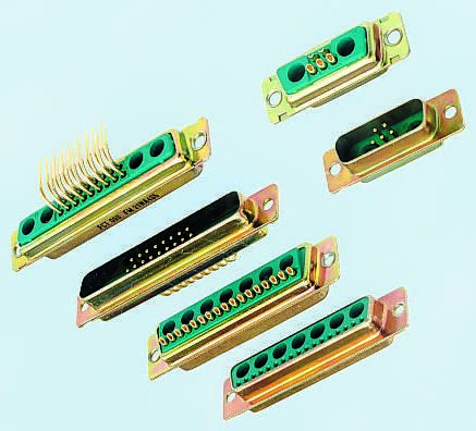 FCT 2 (Power), 15 (Signal) Way Right Angle Through Hole Hybrid PCB D-Sub Connector Plug