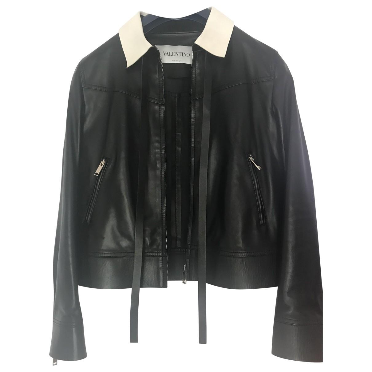 Valentino Garavani - Blouson   pour femme en cuir - noir