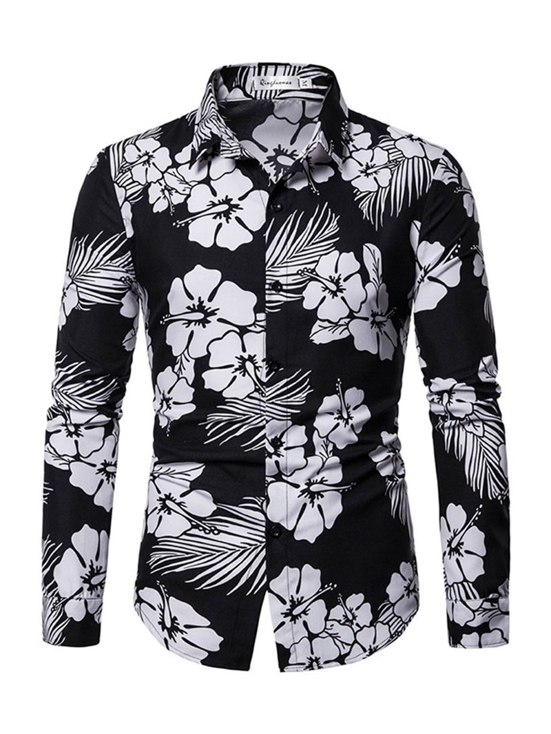 Ericdress Print Casual Lapel Mens Shirt