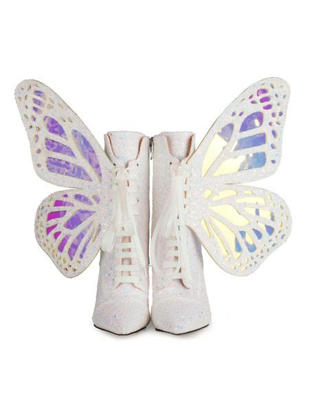 Milanoo Botines de mujer Paño con lentejuelas Mariposa azul Punta puntiaguda Tacones altos Botas cortas